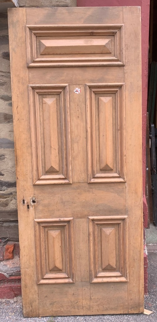 salvaged, vintage 1900, 1910s, 1920s 1930 1940s recycled demolition reproduction, restoration, home renovation secondhand, used , original,old,reclaimed,heritage,antique, victorian,art nouveau edwardian, georgian,art decoLarge Front door with nice cricket bat panels and mouldings , 855mm wide x 2075 mm , 42 mm thick , $ 545