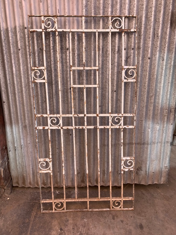 salvaged, vintage 1900, 1910s, 1920s 1930 1940s recycled demolition reproduction, restoration, home renovation secondhand, used , original,old,reclaimed,heritage,antique, victorian,art nouveau edwardian, georgian,art decoDecorative iron screen / panel , 1890 mm tall x 970 mm wide , $ 685