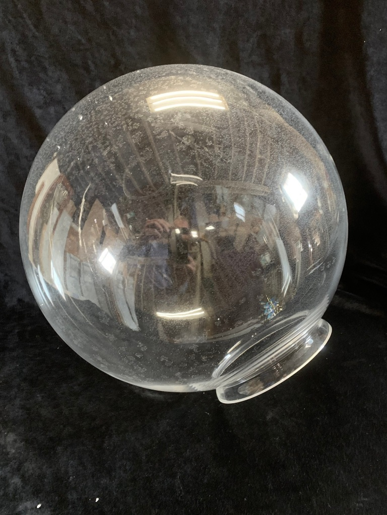 salvaged, vintage 1900, 1910s, 1920s 1930 1940s recycled demolition reproduction, restoration, home renovation secondhand, used , original,old,reclaimed,heritage,antique, victorian,art nouveau edwardian, georgian,art decoLarge clear glass ball , 350 mm diameter , # matching available , $ 85 each