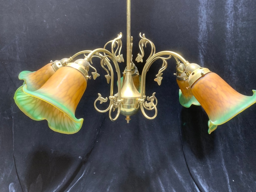 salvaged, vintage 1900, 1910s, 1920s 1930 1940s recycled demolition reproduction, restoration, home renovation secondhand, used , original,old,reclaimed,heritage,antique, victorian,art nouveau edwardian, georgian,art decoBrass light with 5 branches , decorative glass shades , 800 mm diameter x 950 mm drop , $ 345