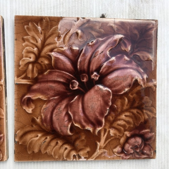 Sherwin and Cotton c1900, moulded floral design, in madder brown and dusky pink, 6 tiles available, $55 pair SET 233 salvaged, vintage recycled, demolition, reproduction, restoration, home renovation secondhand, used , original, old, reclaimed, heritage, antique, victorian, art nouveau edwardian, georgian, art decoDetail of Deco style lettering to pub door