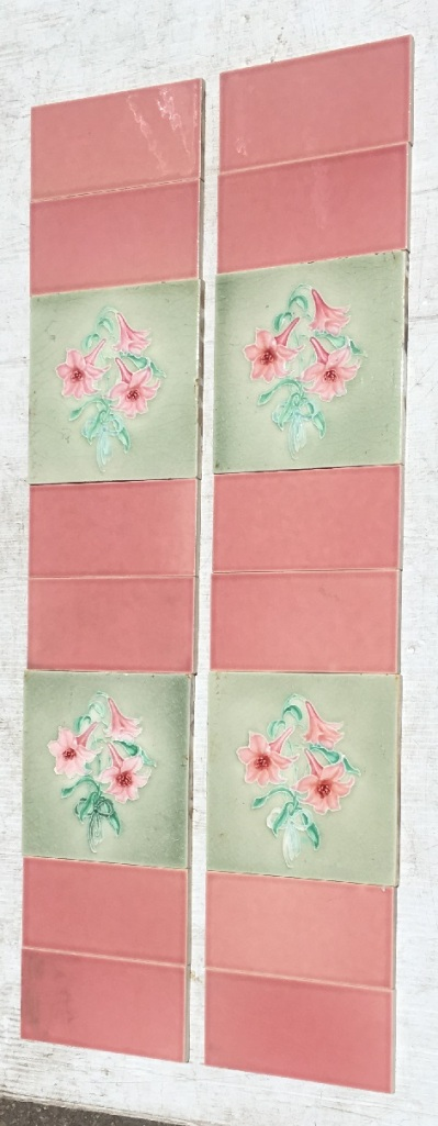 H Richards Tile Co. England c1905, three pink flowers with soft green background, 2 panel set $180 (OTB 125) salvaged, vintage recycled, demolition, reproduction, restoration, home renovation secondhand, used , original, old, reclaimed, heritage, antique, victorian, art nouveau edwardian, georgian, art decoDetail of Deco style lettering to pub door