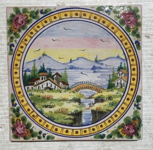 Detail of one of the set of 10 hand painted feature tiles, various scenes of rural / medieval buildings, bridge and streams scenes across the set, (10 tiles) $275 , SET 72 salvaged, vintage recycled, demolition, reproduction, restoration, home renovation secondhand, used , original, old, reclaimed, heritage, antique, victorian, art nouveau edwardian, georgian, art decoDetail of Deco style lettering to pub door