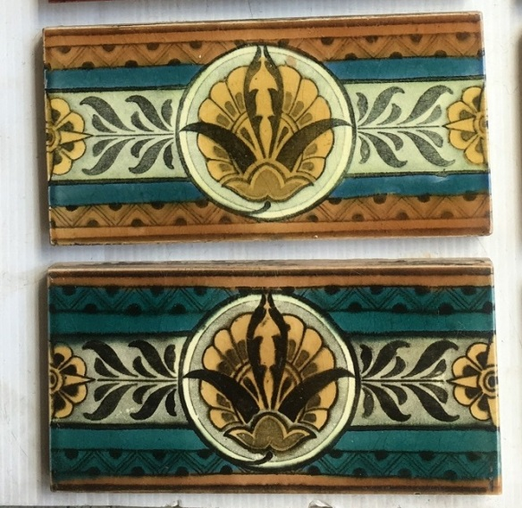 Rare Wedgewood tiles c1885, 3 x 6 inch, 2 available, $45 each WSsalvaged, vintage recycled, demolition, reproduction, restoration, home renovation secondhand, used , original, old, reclaimed, heritage, antique, victorian, art nouveau edwardian, georgian, art decoDetail of Deco style lettering to pub door