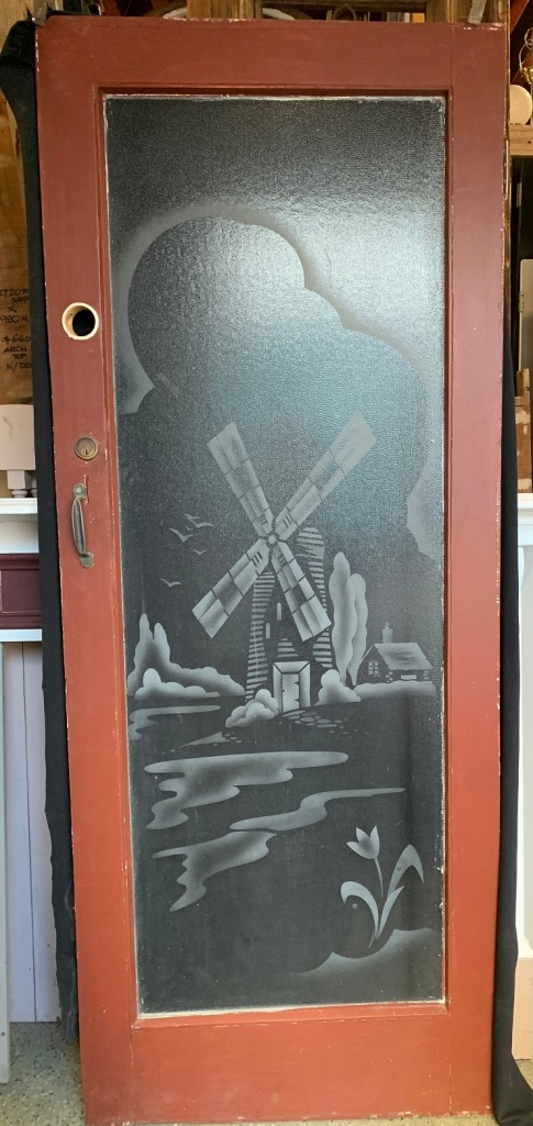 salvaged, vintage 1900, 1910s, 1920s 1930 1940s recycled demolition reproduction, restoration, home renovation secondhand, used , original,old,reclaimed,heritage,antique, victorian,art nouveau edwardian, georgian,art decoDoor with etched glass windmill scene , door is 810 mm x 2035 mm , $ 330