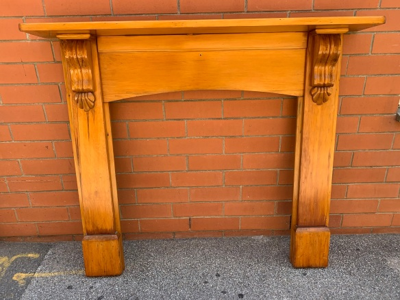 salvaged, vintage 1900, 1910s, 1920s 1930 1940s recycled demolition reproduction, restoration, home renovation secondhand, used , original,old,reclaimed,heritage,antique, victorian,art nouveau edwardian, georgian,art decoPine mantle with scrolls , , top shelf is 1470 mm x 215 mm, height is 1235 mm , opening is 915 mm wide x 955 mm high , $ 330