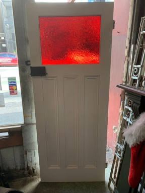 Bungalow door with red glass panel , 805 mm wide x 2010 mm tall , $ 440