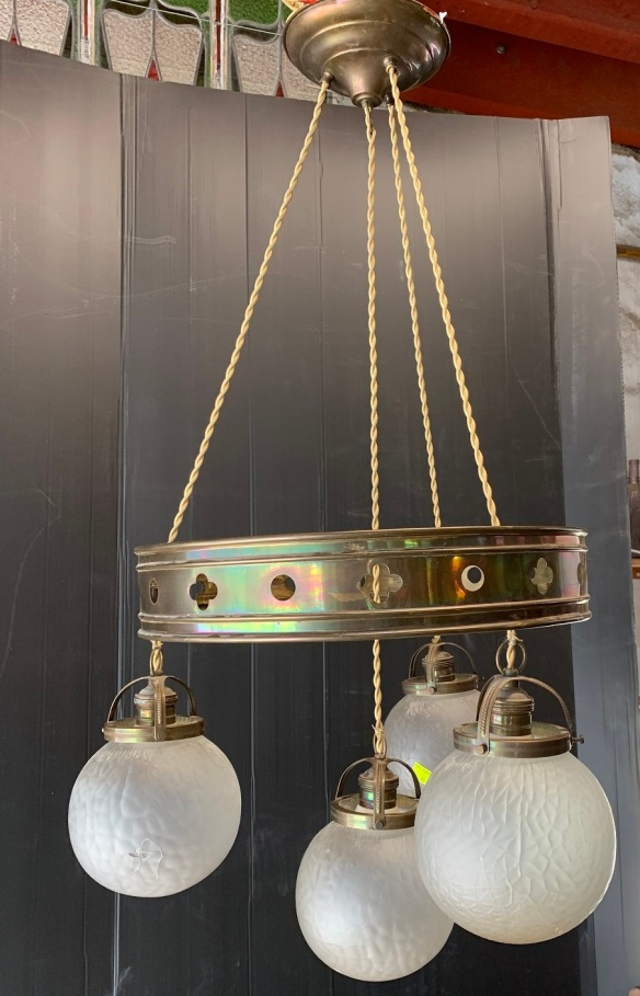 Hanging pendant light with metal hoop and 4 decorative ball shades, French Art Deco design , 400 mm diameter and 800 mm drop , $345 vintage salvaged 1800s 1900 1910 1920 1930 1940 1950 recycled demolition reproduction, restoration, renovation secondhand, used , original,old,reclaimed,heritage,antique, victorian,art nouveau edwardian, georgian,art decoHanging pendant light with metal hoop , and decorative shades, , 400 mm diameter and 800 mm drop , $ 345