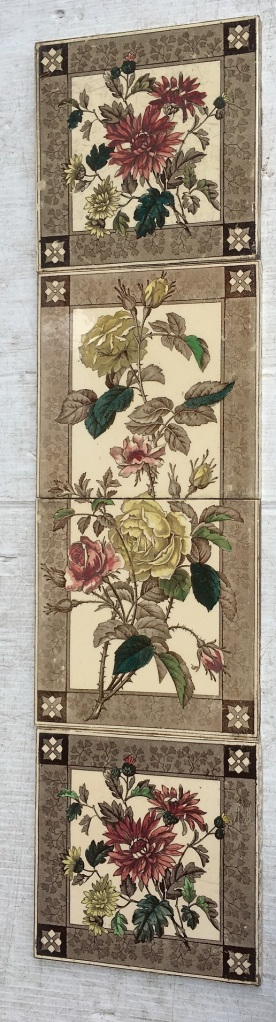vintage salvaged 1800s 1900 1910 1920 1930 1940 1950 recycled demolition reproduction, restoration, renovation secondhand, used , original,old,reclaimed,heritage,antique, victorian,art nouveau edwardian, georgian,art deco Victorian decorative tile panel, c 1900, carnations, chocolate brown print with burgundy green and pale yellow hand tinting, one panel only, $120 SET 240