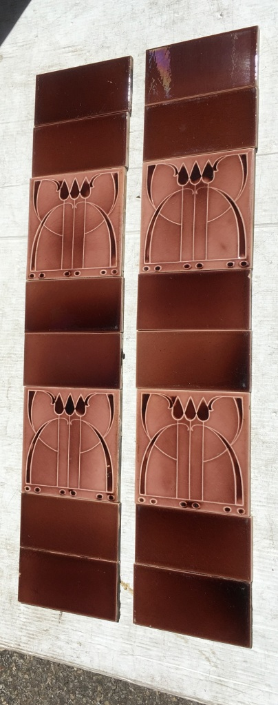 Original Sherwin and Cotton Art Deco (hint of Art Nouveau) three stylised tulips, , moulded tiles in monochrome mushroom pink, two panel fireplace set, $330 OTB 127 vintage salvaged 1800s 1900 1910 1920 1930 1940 1950 recycled demolition reproduction, restoration, renovation secondhand, used , original,old,reclaimed,heritage,antique, victorian,art nouveau edwardian, georgian,art deco