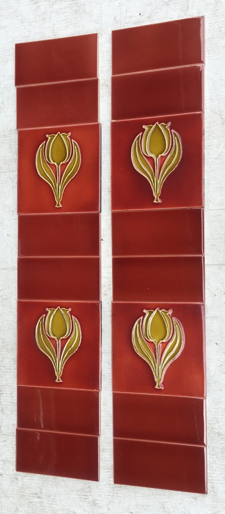Original Sherwin and Cotton fireplace tile set, circa 1900, moulded tulip design in deep warm yellow, light burgundy background, 153 x 153mm, $240 vintage salvaged, mid century, recycled, demolition, reproduction, restoration, home renovation secondhand, used , original, old, reclaimed, heritage, antique, victorian, art nouveau edwardian, georgian, art deco