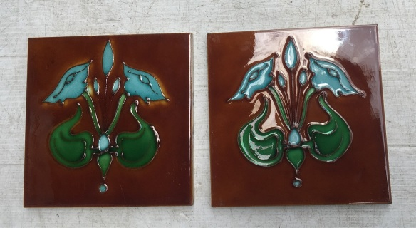 H and R Johnson, collectable hand tubelined tiles, Art Nouveau, (matching tiles in fireplace set OTB 114) blue glazed flowers, vivid green foliage, deep amber background. $120 pair WS vintage salvaged 1800s 1900 1910 1920 1930 1940 1950 recycled demolition reproduction, restoration, renovation secondhand, used , original,old,reclaimed,heritage,antique, victorian,art nouveau edwardian, georgian,art deco