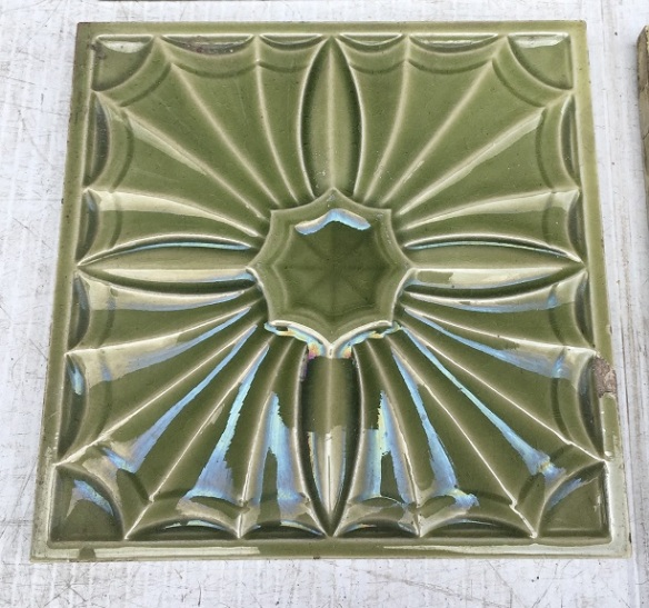 detail of Victorian feature tiles, c 1895 relief moulded, monochrome fern green, old repair on one tile,152 x 152 x 11mm. $120 set of four or can sell as pairs SET 238 salvaged, recycled, demolition, reproduction, restoration, home renovation secondhand, used , original, old, reclaimed, heritage, antique, victorian, art nouveau edwardian, georgian, art deco