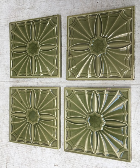 Victorian feature tiles, c 1895 relief moulded, monochrome fern green, old repair on one tile,152 x 152 x 11mm. $120 set of four or can sell as pairs SET 238 salvaged, recycled, demolition, reproduction, restoration, home renovation secondhand, used , original, old, reclaimed, heritage, antique, victorian, art nouveau edwardian, georgian, art deco