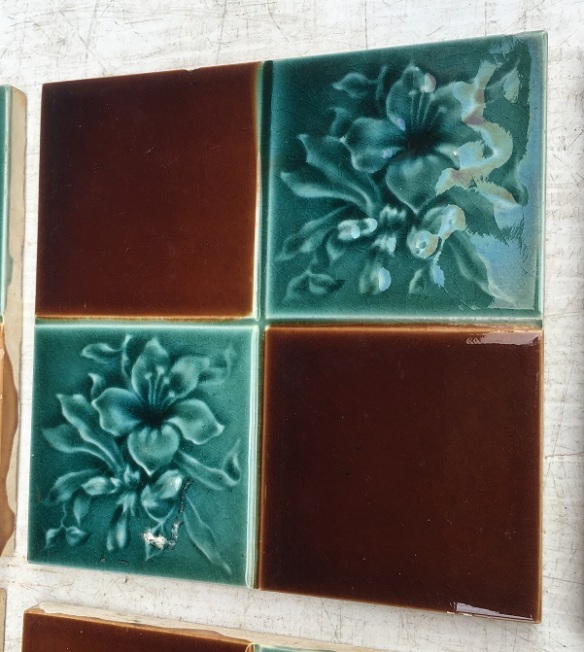 Detail of original English Victorian fireplace tiles, aqua / turquoise with brown in square pattern, 10 tile set, $300 (OTB 181) salvaged, recycled, demolition, reproduction, restoration, home renovation secondhand, used , original, old, reclaimed, heritage, antique, victorian, art nouveau edwardian, georgian, art deco