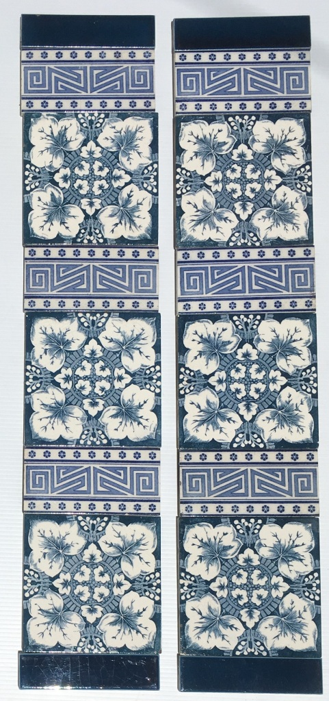 Victorian / Aesthetic feature tiles c 1900, deep blue on white clay, foliage design and patterned 3 x 6 inch tiles. $318 SET 244 salvaged, vintage recycled, demolition, reproduction, restoration, home renovation secondhand, used , original, old, reclaimed, heritage, antique, victorian, art nouveau edwardian, georgian, art decoDetail of Deco style lettering to pub door
