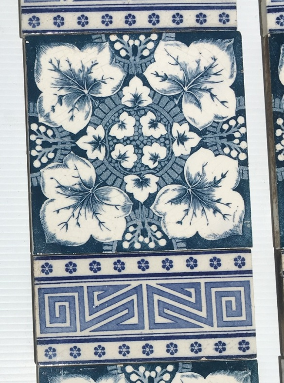 Detail of Victorian / Aesthetic feature tiles c 1900, deep blue on white clay, foliage design and patterned 3 x 6 inch tiles. $318 SET 244salvaged, vintage recycled, demolition, reproduction, restoration, home renovation secondhand, used , original, old, reclaimed, heritage, antique, victorian, art nouveau edwardian, georgian, art decoDetail of Deco style lettering to pub door