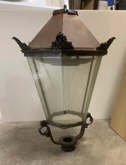 vintage salvaged 1800s 1900 1910 1920 1930 1940 1950 recycled demolition reproduction, restoration, renovation secondhand, used , original,old,reclaimed,heritage,antique, victorian,art nouveau edwardian, georgian,art decoLight fitting for lamp post , copper top and cast iron acroterion details , 820 mm tall x 620 mm wide