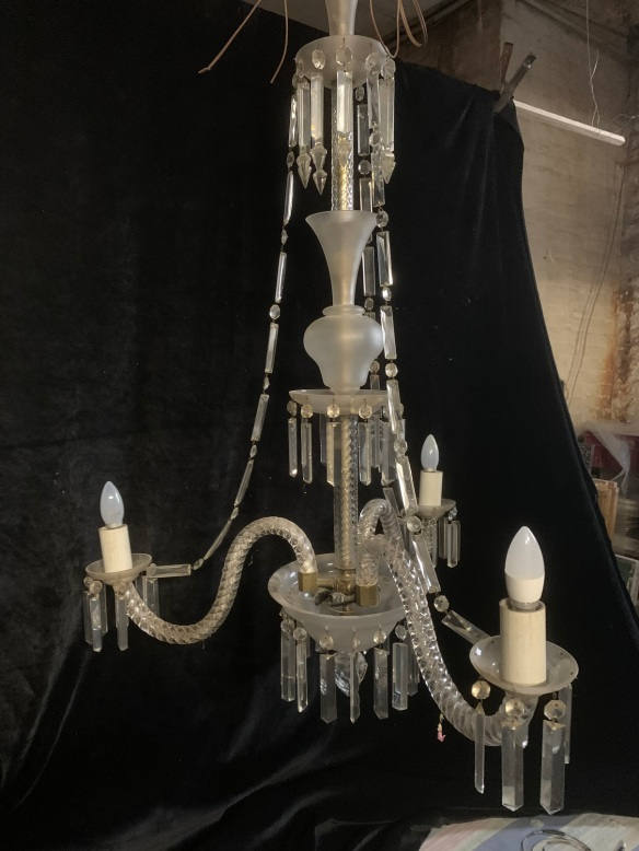 vintage salvaged 1800s 1900 1910 1920 1930 1940 1950 recycled demolition reproduction, restoration, renovation secondhand, used , original,old,reclaimed,heritage,antique, victorian,art nouveau edwardian, georgian,art decoLarge 3 arm Lead Crystal Chandelier, 1200 mm drop , 800 mm diameter , ( 3 small drops missing ) , $ 845