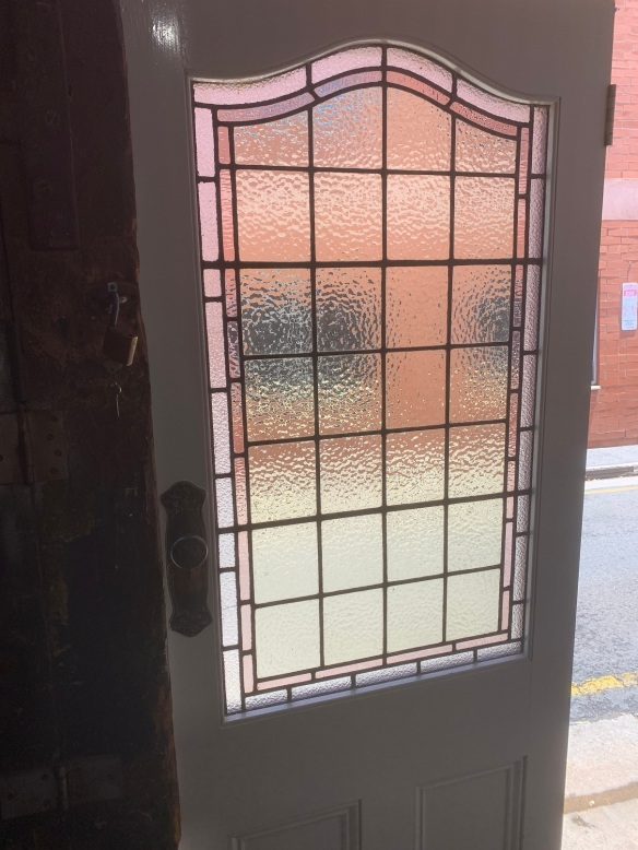 Detail of glass in Single door with leadlight , 855mm x 2055mm , $645 vintage salvaged 1800s 1900 1910 1920 1930 1940 1950 recycled demolition reproduction, restoration, renovation secondhand, used , original,old,reclaimed,heritage,antique, victorian,art nouveau edwardian, georgian,art decoSingle door with lead light , 855 mm x 2055 mm , $ 645