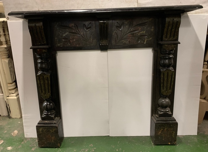 vintage salvaged 1800s 1900 1910 1920 1930 1940 1950 recycled demolition reproduction, restoration, renovation secondhand, used , original,old,reclaimed,heritage,antique, victorian,art nouveau edwardian, georgian,art decoEdwardian mantle with painted marble finish and carved split turns to legs , top shelf is 1475 mm x 250 mm , height is 1245 mm , opening is 915 mm wide x 920 mm tall , $ 745