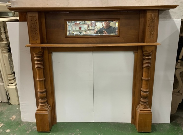 vintage salvaged 1800s 1900 1910 1920 1930 1940 1950 recycled demolition reproduction, restoration, renovation secondhand, used , original,old,reclaimed,heritage,antique, victorian,art nouveau edwardian, georgian,art decoKauri pine Edwardian mantle with double shelf , turned colums and mirror , top shelf is 1520 mm x 220 , height is 1310 mm , opening is 905 mm wide x 882 mm tall , $ 650