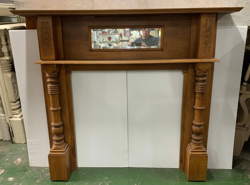 Kauri pine Edwardian mantle with double shelf, turned columns and mirror, top shelf is 1520 mm x 220 , height is 1310 mm , opening is 905mm wide x 882mm tall, $650 vintage salvaged 1800s 1900 1910 1920 1930 1940 1950 recycled demolition reproduction, restoration, renovation secondhand, used , original,old,reclaimed,heritage,antique, victorian,art nouveau edwardian, georgian,art decoKauri pine Edwardian mantle with double shelf , turned colums and mirror , top shelf is 1520 mm x 220 , height is 1310 mm , opening is 905 mm wide x 882 mm tall , $ 650