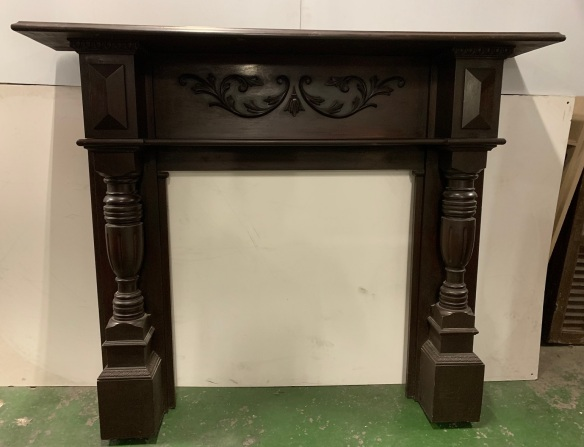 vintage salvaged 1800s 1900 1910 1920 1930 1940 1950 recycled demolition reproduction, restoration, renovation secondhand, used , original,old,reclaimed,heritage,antique, victorian,art nouveau edwardian, georgian,art decoEdwardian kauri pine mantle with heavy carving to breast plate and turned colums , top shelf is 1605 mm x 300 mm , height is 1330 mm , opening is 915 mm x 915 mm , $ 745