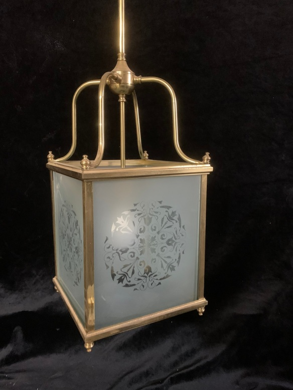 vintage salvaged 1800s 1900 1910 1920 1930 1940 1950 recycled demolition reproduction, restoration, renovation secondhand, used , original,old,reclaimed,heritage,antique, victorian,art nouveau edwardian, georgian,art decoHallway light , brass fitting with etched glass to frame , 250 mm wide x 1350 mm drop , $ 345