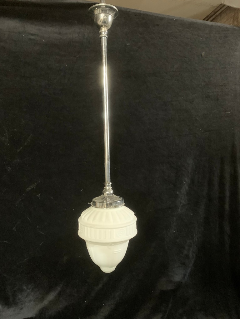 Single pendant light with white glass shade , 200 mm diameter x 1250 mm drop , 1 available , $145 vintage salvaged 1800s 1900 1910 1920 1930 1940 1950 recycled demolition reproduction, restoration, renovation secondhand, used , original,old,reclaimed,heritage,antique, victorian,art nouveau edwardian, georgian,art decoSingle pendant light with white glass shade , 200 mm diameter x 1250 mm drop , 2 matching available , $ 145 each