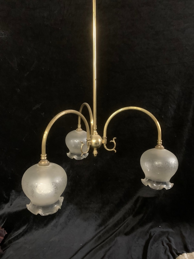 3 branch light fitting , 600 mm diameter x 1500 mm drop , $ 95vintage salvaged 1800s 1900 1910 1920 1930 1940 1950 recycled demolition reproduction, restoration, renovation secondhand, used , original,old,reclaimed,heritage,antique, victorian,art nouveau edwardian, georgian,art deco