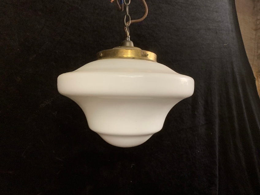 vintage salvaged 1800s 1900 1910 1920 1930 1940 1950 recycled demolition reproduction, restoration, renovation secondhand, used , original,old,reclaimed,heritage,antique, victorian,art nouveau edwardian, georgian,art decoRailway style light with white glass shade and gallery with chain , 400 mm diameter x 700 mm drop , $ 145