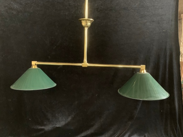 vintage salvaged 1800s 1900 1910 1920 1930 1940 1950 recycled demolition reproduction, restoration, renovation secondhand, used , original,old,reclaimed,heritage,antique, victorian,art nouveau edwardian, georgian,art deco2 branch light fitting , brass rod and enamel shades , 1100 mm wide x 700 mm drop , $ 245