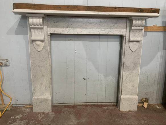 vintage salvaged 1800s 1900 1910 1920 1930 1940 1950 recycled demolition reproduction, restoration, renovation secondhand, used , original,old,reclaimed,heritage,antique, victorian,art nouveau edwardian, georgian,art decoVictorian Carrara marble mantle , top shelf is 1450 mm x 255 , height is 1165 mm , opening is 940 high , width can vary from 840 mm to 870 mm , $ 2850