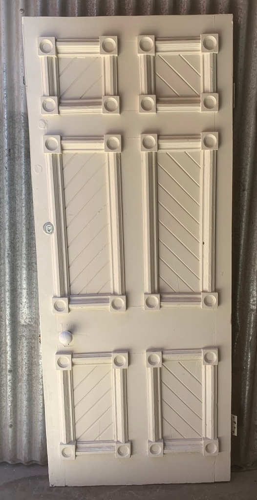 vintage salvaged 1800s 1900 1910 1920 1930 1940 1950 recycled demolition reproduction, restoration, renovation secondhand, used , original,old,reclaimed,heritage,antique, victorian,art nouveau edwardian, georgian,art decoEarly external door with rondelles and mouldings , 853 mm x 2070 mm x 41 mm thick $ 485