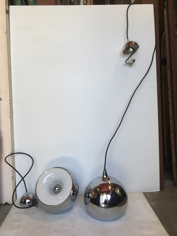 Chrome finish eyeball pendant lights, 60's / 70's style, steel w white plastic reflector, 23cm diameter, drop approx 170 cm, 2 available, $145 eachsalvaged, vintage recycled, demolition, reproduction, restoration, home renovation secondhand, used , original, old, reclaimed, heritage, antique, victorian, art nouveau edwardian, georgian, art decoDetail of Deco style lettering to pub door