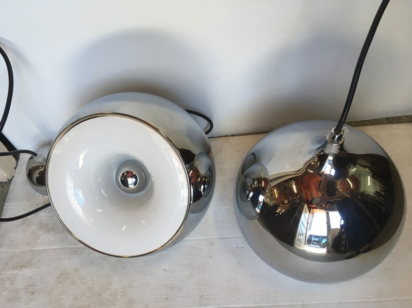 Chrome finish eyeball pendant lights, 60's / 70's style, steel w white plastic reflector, 23cm diameter, drop approx 170cm, 2 available, $145 eachsalvaged, vintage recycled, demolition, reproduction, restoration, home renovation secondhand, used , original, old, reclaimed, heritage, antique, victorian, art nouveau edwardian, georgian, art decoDetail of Deco style lettering to pub door