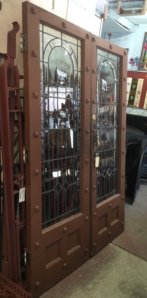 Fantastic pair of French doors with great leadlight , decorative timber dentils to doors and domed / convex glass circle to each door , doors are 2205 mm tall x 1550mm wide and 50mm thick , $2200 the pair salvaged, recycled, demolition, reproduction, restoration, home renovation secondhand, used , original, old, reclaimed, heritage, antique, victorian, art nouveau edwardian, georgian, art deco