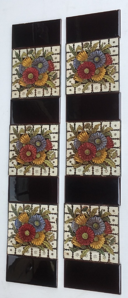 J H Barratt and Co. England c 1900 Hand tinted print feature tiles, Aesthetic design, daisies, two panel fireplace set, $290 SET 245salvaged, vintage recycled, demolition, reproduction, restoration, home renovation secondhand, used , original, old, reclaimed, heritage, antique, victorian, art nouveau edwardian, georgian, art decoDetail of Deco style lettering to pub door
