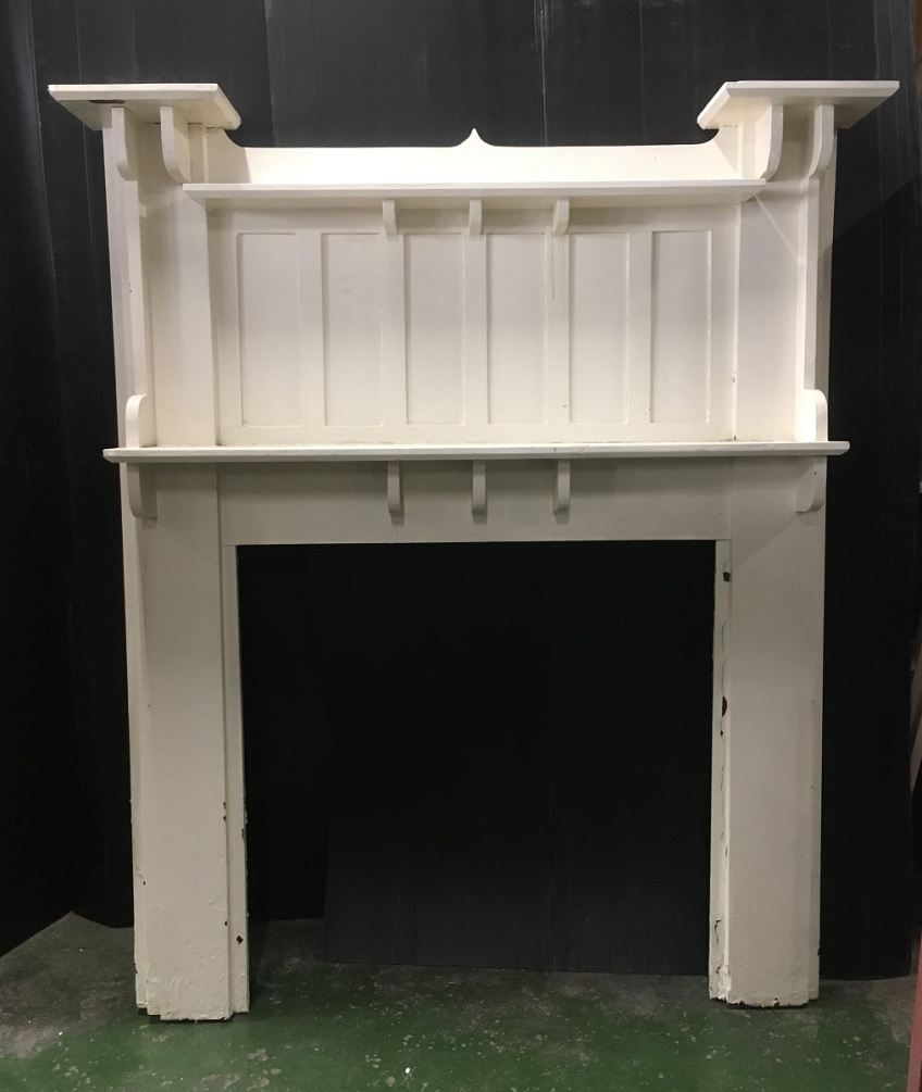 Bungalow mantlepiece, white painted, width 1415mm, height 1710mm, outer leg width 1345mm, opening dimensions 915 x 915mm, $330salvaged, vintage recycled, demolition, reproduction, restoration, home renovation secondhand, used , original, old, reclaimed, heritage, antique, victorian, art nouveau edwardian, georgian, art decoDetail of Deco style lettering to pub door