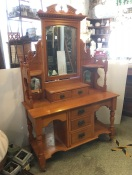 Large early 1900s kauri pine dressing table, pivoting bevel mirror, five drawers, original ceramic wheel casters, height 192cm x width 122cm x depth 50.5cm $490 salvaged, vintage recycled, demolition, reproduction, restoration, home renovation secondhand, used , original, old, reclaimed, heritage, antique, victorian, art nouveau edwardian, georgian, art decoDetail of Deco style lettering to pub door