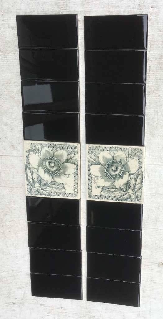 JH Barratt and co, c1900 English feature tiles, unusual mirrored print, deep blue / grey flower and foliage on white clay base, two panel fireplace set, $170 SET 248