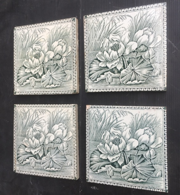 Victorian era fireplace tiles, water lilies design, deep grey green on white, very good condition, 4 tiles available $88 per pair WS salvaged, recycled, demolition, reproduction, restoration, renovation,collectable, secondhand, used , original, old, reclaimed, heritage, antique, victorian, art nouveau edwardian, georgian, art deco