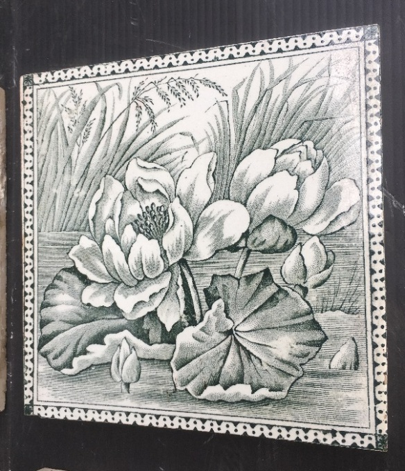 Victorian era fireplace tiles, water lilies design, deep grey green on white, very good condition, 4 tiles available $88 per pair WS salvage recycled demolition, reproduction restoration, renovation, collectable, secondhand, used, original, old, reclaimed heritage, antique restored