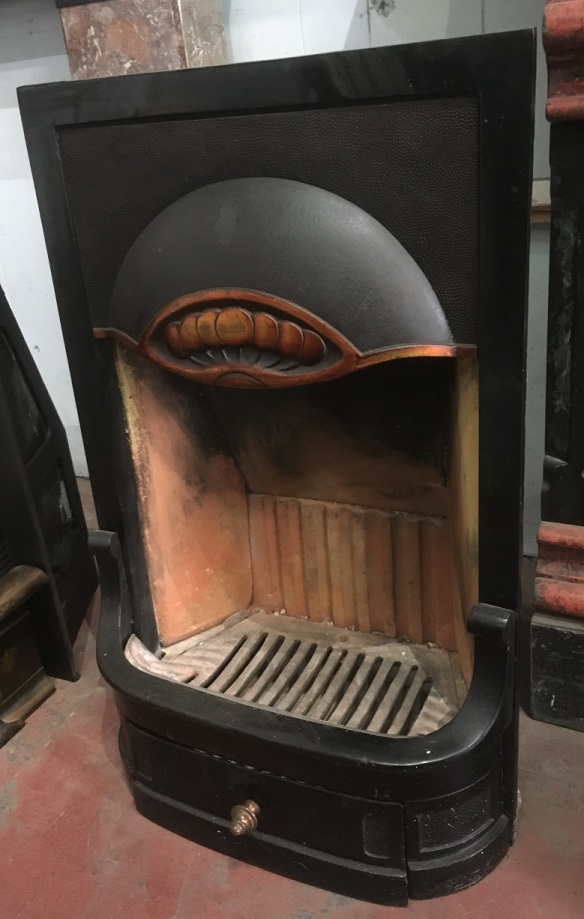 original c1920 Domus fireplace insert, cast iron with copper hood. Height 745mm X width 465mm X depth 190mm, $550 salvaged, vintage recycled, demolition, reproduction, restoration, home renovation secondhand, used , original, old, reclaimed, heritage, antique, victorian, art nouveau edwardian, georgian, art decoDetail of Deco style lettering to pub door