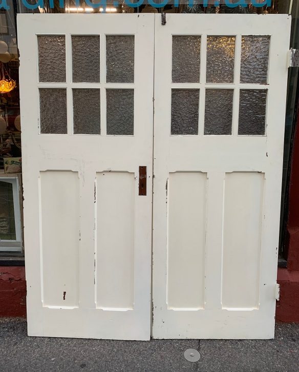 vintage salvaged 1800s 1900 1910 1920 1930 1940 1950 recycled demolition reproduction, restoration, renovation secondhand, used , original,old,reclaimed,heritage,antique, victorian,art nouveau edwardian, georgian,art decoBungalow french doors with glazed panels , width is 1590 mm x 2015 mm tall , $ 485 the pair