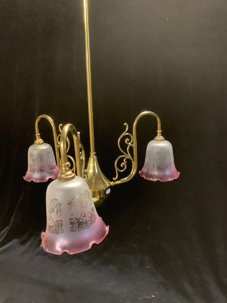 vintage salvaged 1800s 1900 1910 1920 1930 1940 1950 recycled demolition reproduction, restoration, renovation secondhand, used , original,old,reclaimed,heritage,antique, victorian,art nouveau edwardian, georgian,art deco3 branch pendant light with pink etched shades , 900 mm drop x 500 mm diameter , $ 225