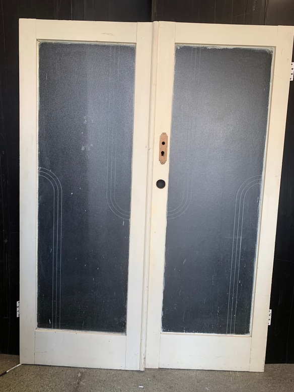 vintage salvaged 1800s 1900 1910 1920 1930 1940 1950 recycled demolition reproduction, restoration, renovation secondhand, used , original,old,reclaimed,heritage,antique, victorian,art nouveau edwardian, georgian,art decoPair of Oak Deco French doors , with geometric motif etched on the glass ( black background was for the photo ) Doors are 1520 mm wide x 2030 mm tall , $ 385 the pair