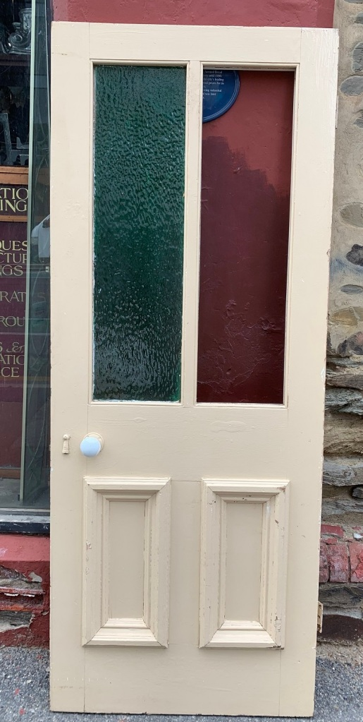 vintage salvaged 1800s 1900 1910 1920 1930 1940 1950 recycled demolition reproduction, restoration, renovation secondhand, used , original,old,reclaimed,heritage,antique, victorian,art nouveau edwardian, georgian,art decoVictorian glass top external door with mouldings , 810 mm wide x 2025 mm tall , $ 485