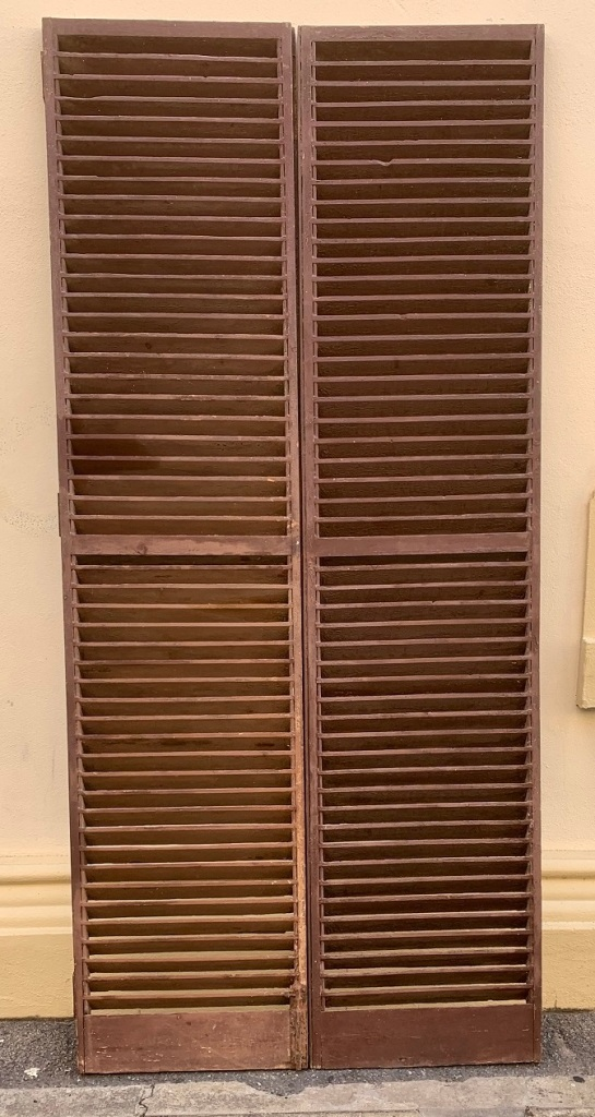 vintage salvaged 1800s 1900 1910 1920 1930 1940 1950 recycled demolition reproduction, restoration, renovation secondhand, used , original,old,reclaimed,heritage,antique, victorian,art nouveau edwardian, georgian,art decoPairs of louvres , 5 sets available , 1150 mm wide x 2505 mm tall , $ 285 per set ( pair )